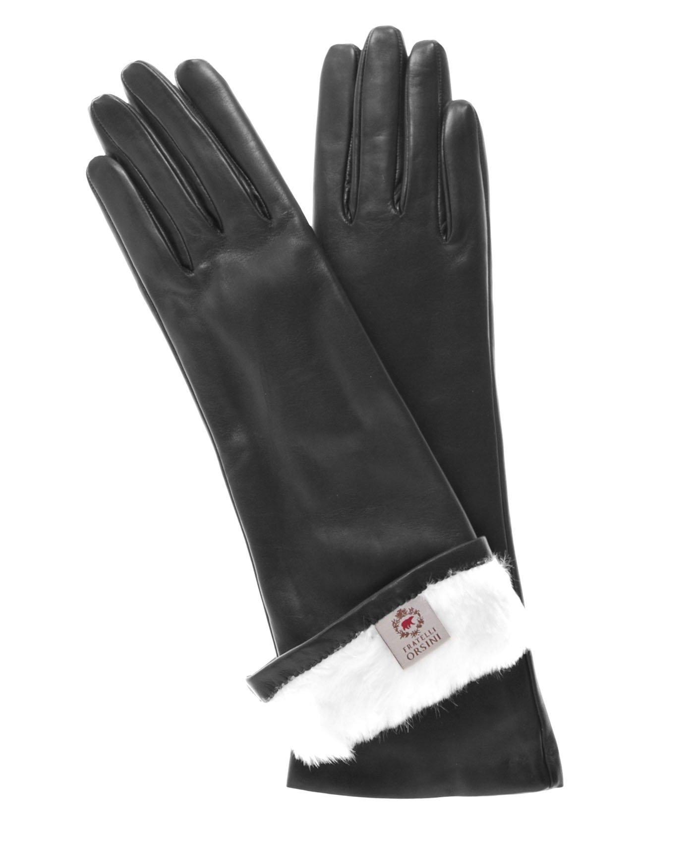 Fratelli Orsini Women's Italian Rabbit Fur Lined 6-Button Length Gloves Size 7 1/2 Color Black