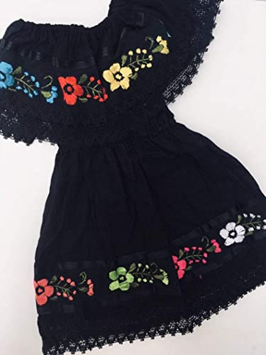 Amazoncom Embroidered Campesino Mexican Black Dress For 5