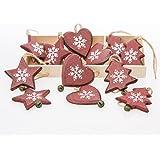 Christmas Direct - Scatola di 12 decorazioni natalizie in legno, motivo: cuore, stella e albero