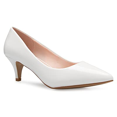 Olivia K Women's Classic D'Orsay Closed Toe Kitten Heel Pump - Casual, Comfort | Pumps