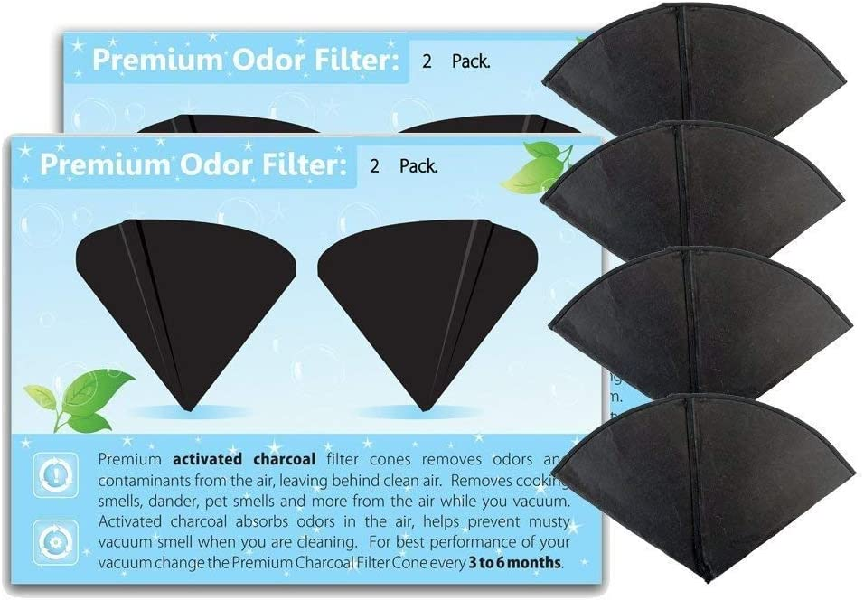 GOODVAC Filter Queen Activated Charcoal Filter Cones 4 Pack Odor Filters Replacement (4)