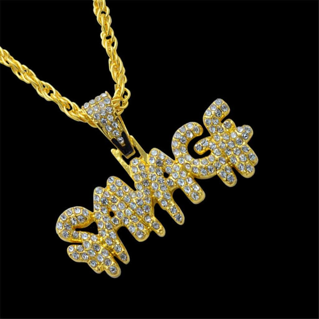 1X Necklace, Gold Mens King Necklace Diamond Letters Chain Necklace New Hip Hop Jewelry Rapper Chain Stainless Steel Pendant Iced Out Pendants for Men