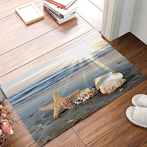 ALAGO Sea Starfish Shells Coastal Scents Doormats Entrance Front Door Rug Outdoors/Indoor/Bathroom/Kitchen/Bedroom/Entryway Floor MatsNon-Slip Rubber,Low-Profile