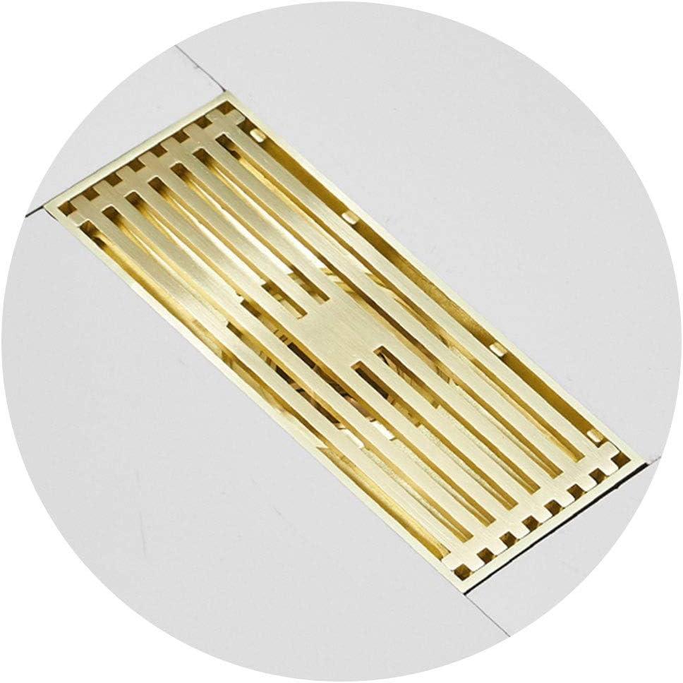 Accessoires pour la douche Siphon De Sol Dor/é Drain De Plancher Rectangulaire en M/étal De La Salle De Bains Siphon De Sol Accessoires De Drainage Drain Grand Drainage Rapide Anti-Odeur Durable