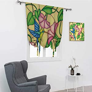 GugeABC Hummingbird Roman Shades for Windows, Stained Glass Style Bird and Hibiscus Tropical Flora and Fauna Illustration Roman Window Shades, Multicolor, 35