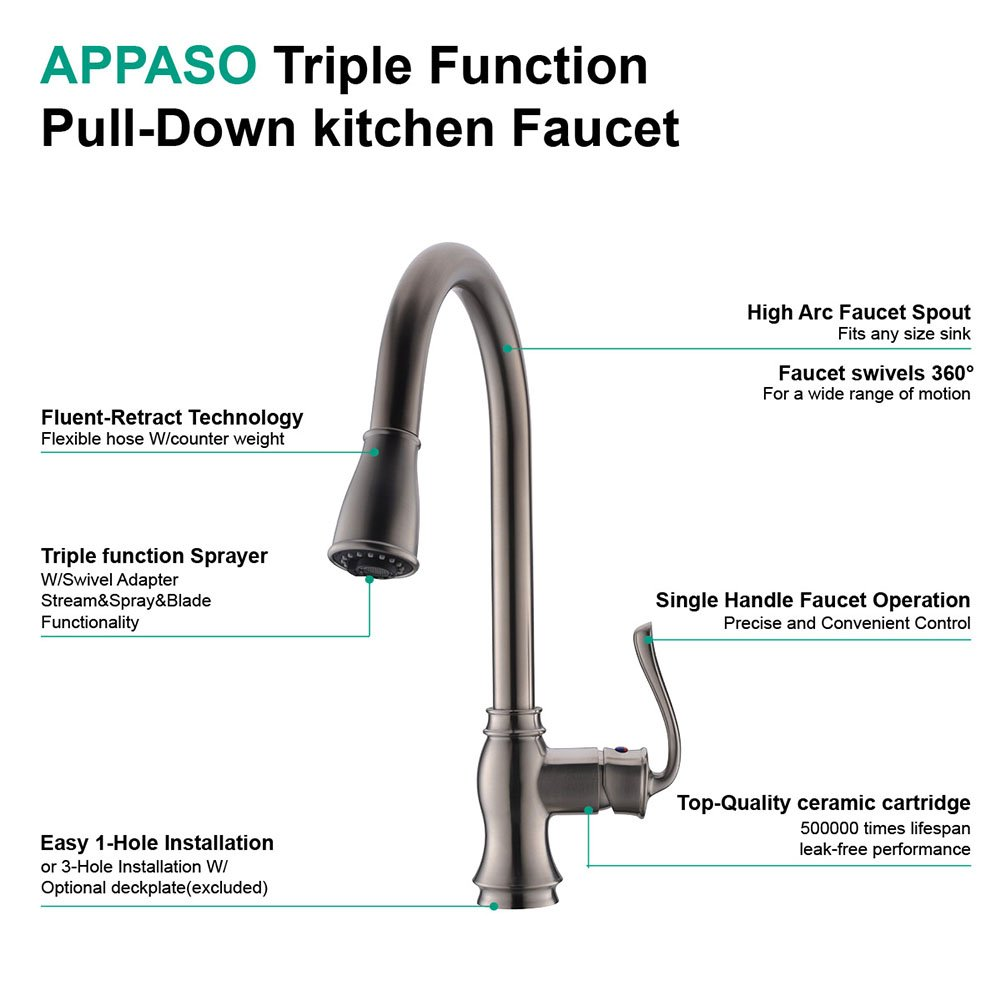 Appaso Pull Down Kitchen Faucet With Sprayer Single Handle High Arc