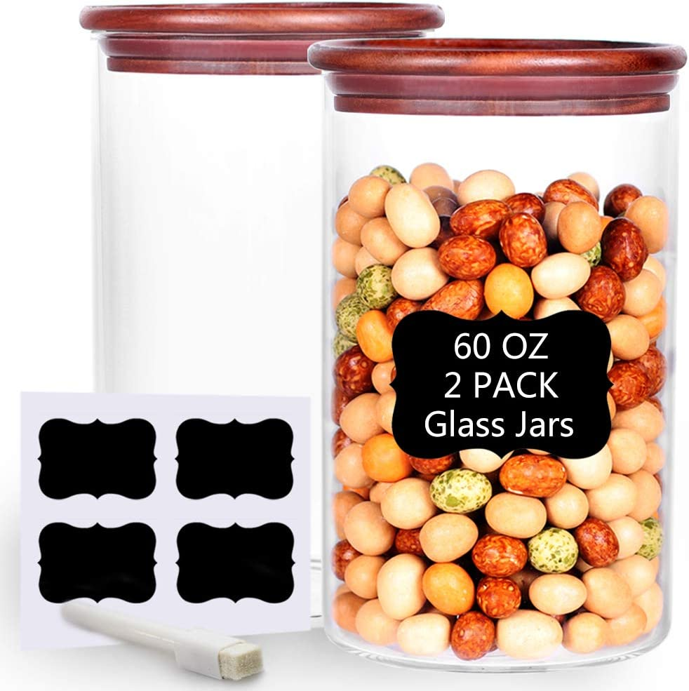 Tzerotone Set of 2 Large Glass Jar, 60 FL OZ Thicken Airtight Food Storage Container with Bamboo Lid and Labels, Stackable Kitchen Canisters for Tea, Flour, Sugar, Coffee, Spice, Pasta