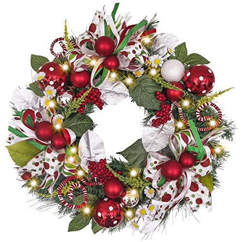 Holiday Wreath with Ball Ornaments, Berries, Candy Canes, Ribbons and Flowers, Battery Operated 20 LED Lights