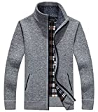 Hotmiss Men's Classic Fleece Zip Up Stand Collar Knitted Cardigan Sweater