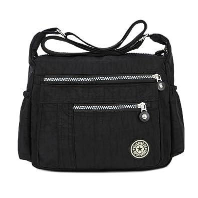Leisure Women Waterproof Nylon Messenger Bags Cross Body Shoulder Bags  Casual Multi Pocket Handbag Tote Purse 434385b5a7