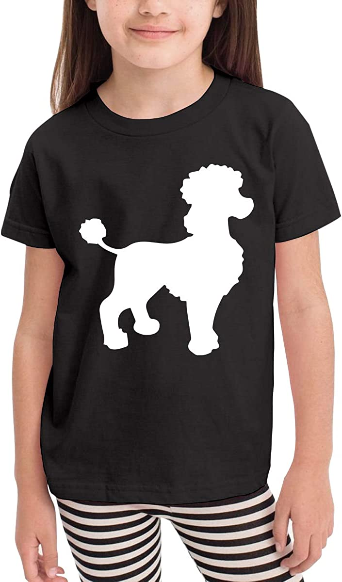 Baby Girls Kids Vintage Poodle Silhouette Cute Short Sleeve Tee Shirt Size 2-6