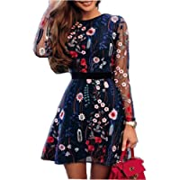 SEWORLD Vestido de Fiesta Bordado Floral de la Moda de Las Mujeres de Malla de Encaje Vestido Mini Capa