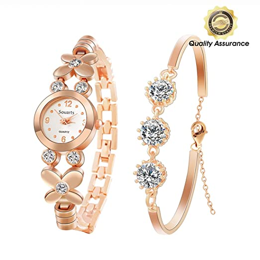 d635928be03 Holove Womens Rose Gold Rhinestone Quartz Watch Analog Wrist Watch Bracelet  Jewelry Set Valentine s Day Christmas