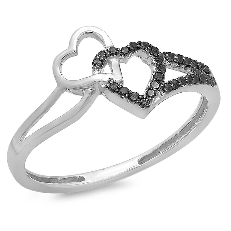 0.15 Carat (ctw) 10K White Gold Round Black Diamond Ladies Promise Double Heart Love Engagement Ring