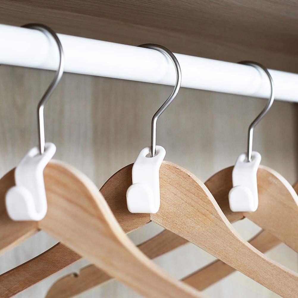 Blanc TOPBATHY Cascade de v/êtements Crochets Stable Connector Cintre en Plastique pour Gagner de la Place 12 Pcs