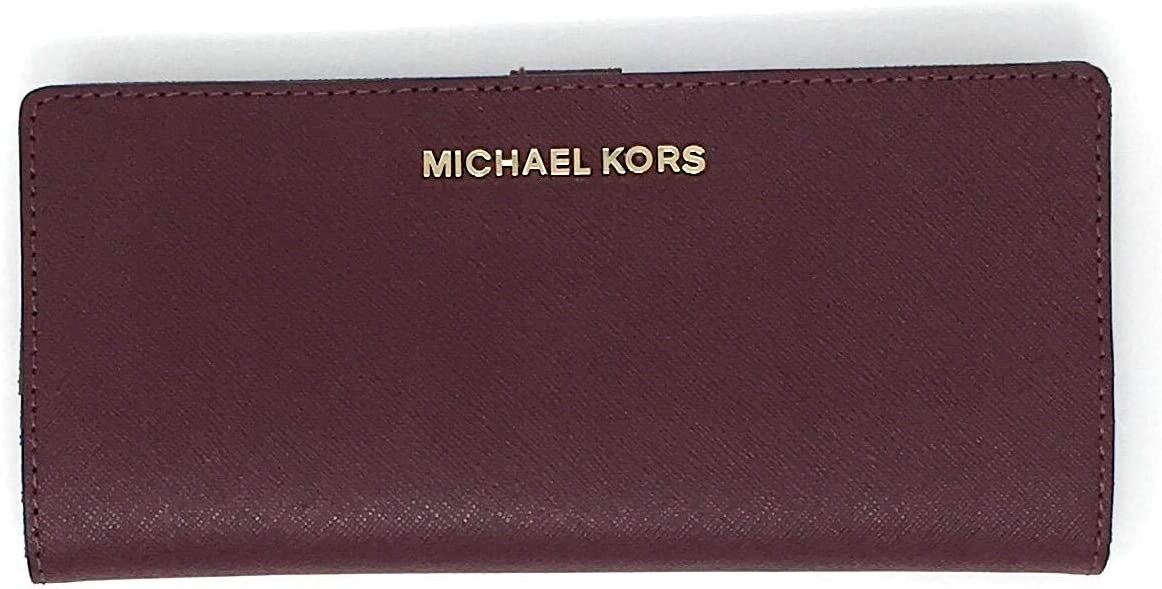 Michael Kors Jet Set Travel Flat Slim Bifold Saffiano Leather Wallet (Merlot)