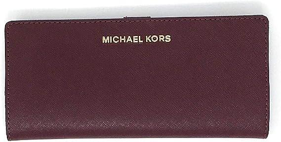 Michael Kors Jet Set Travel Flat Slim Bifold Saffiano Leather Wallet (Merlot)