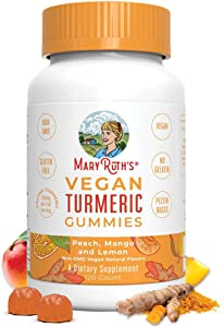 Vegan Turmeric Gummies by MaryRuth - Organic Turmeric Curcumin Extract - Anti-inflammatory - Antioxidant - Brain Function - Chewable - Non-GMO - Peach, Mango & Lemon - 250 mg per Serving - 120 Count