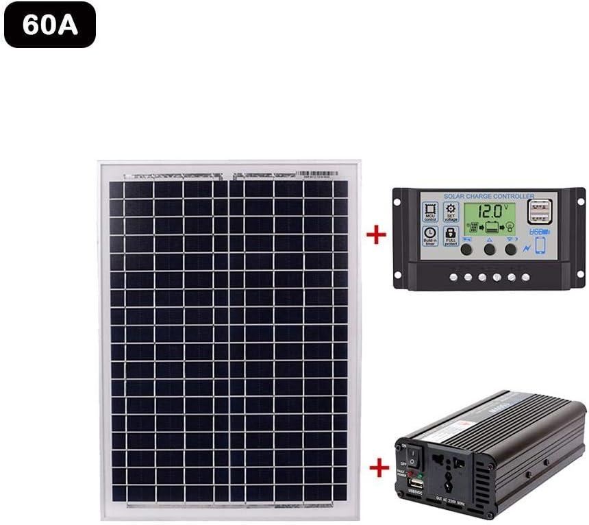 WUYANSE Sistema de generación de energía Solar Panel Solar + Controlador Solar + Conjunto de inversor para Sistemas de generación de energía Solar AC220V para Uso en Exteriores y en hogares