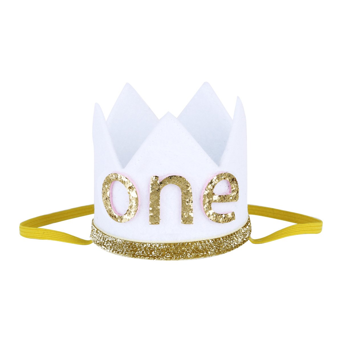 FEESHOW Baby Girls Boy First 1st Birthday Hat Prince Party Sparkle Crown Elastic Headband Cake Smash Photo Prop White Letter ONE One Size