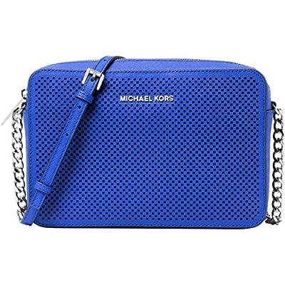 Michael Kors Women's Jet Set Crossbody Leather Bag, Electric Blue Perforated, Large