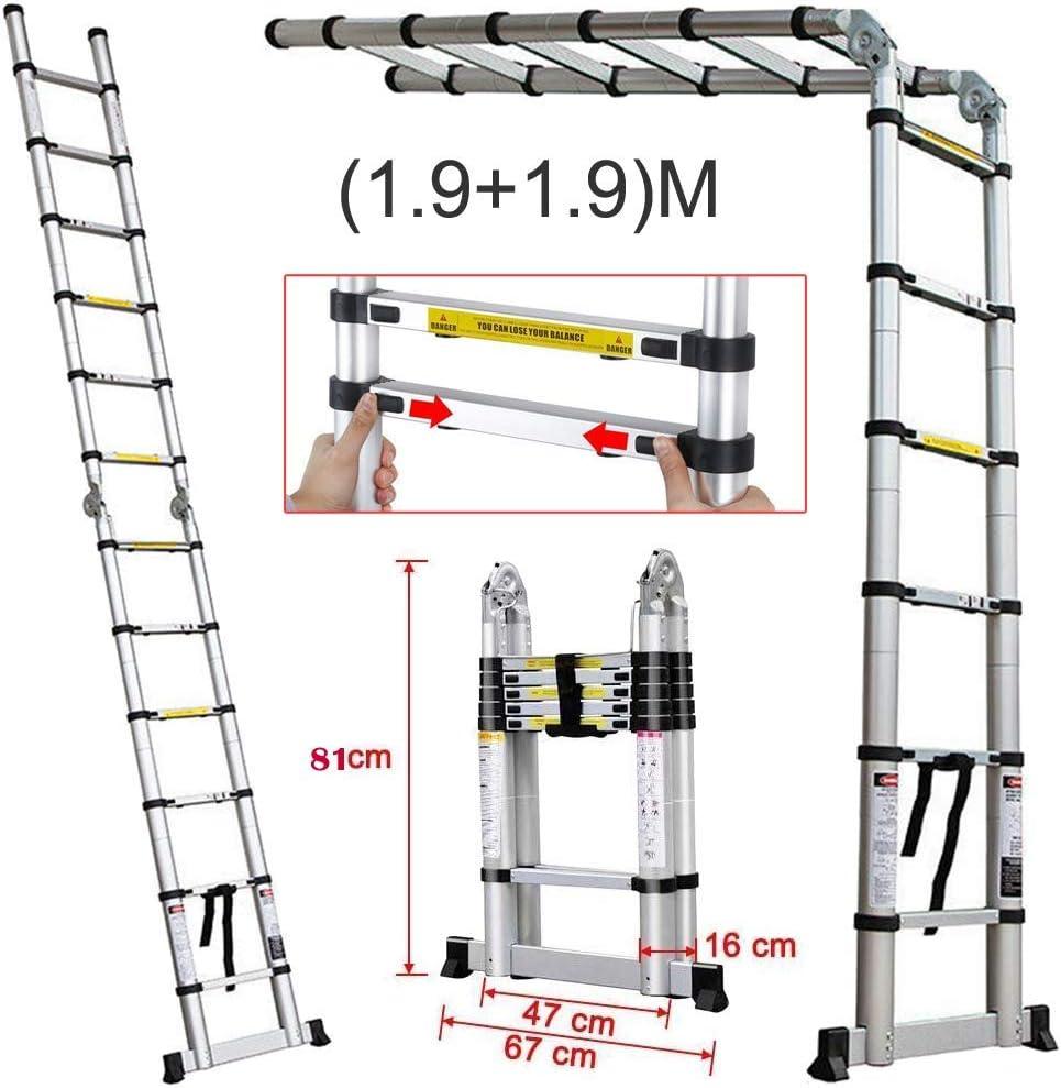 Escalera telescópica de aluminio plegable de 3,8 m (1,9 + 1,9 m) en forma de A Escalera de extensión multiusos extensible resistente EN131 150 kg de carga: Amazon.es: Bricolaje y herramientas