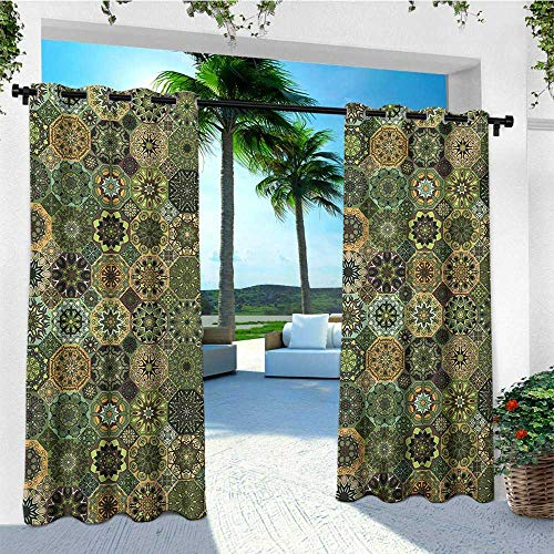 (leinuoyi Mandala, Outdoor Curtain Ties, Ethnic Oriental Elements with Floral Design Retro Octagons and Rhombuses Pattern, for Pergola W108 x L96 Inch Multicolor)