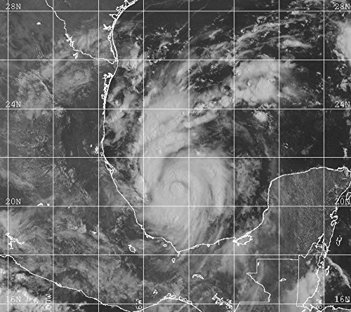 Tropical Storm Bret intensifying on August 20, 1999