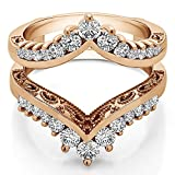 TwoBirch 0.98 ct. Cubic Zirconia Filigree Vintage Wedding Ring Guard in Rose Gold Plated Sterling Silver (0.98 ct. twt.)