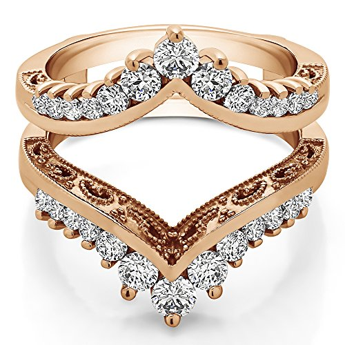 0.98 ct. Cubic Zirconia Filigree Vintage Wedding Ring Guard in Rose Gold Plated Sterling Silver (0.98 ct. twt.) Vintage Filigree Ring