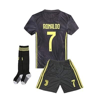 04941689028 AYCJK33 Juventus Ronaldo  7 Kids Youth Away Soccer Jersey   Shorts   Socks  2018