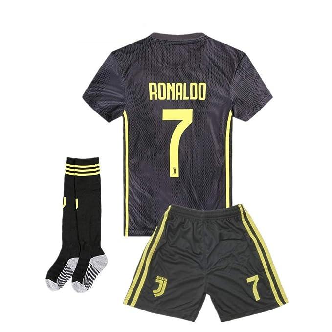 finest selection 25756 c21e1 AYCJK33 Juventus Ronaldo #7 Kids/Youth Away Soccer Jersey & Shorts & Socks  2018-2019 Black