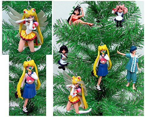 SAILOR MOON 6 Piece Ornament Set Featuring Various Sailor Moon Characters, Ornaments Average 2