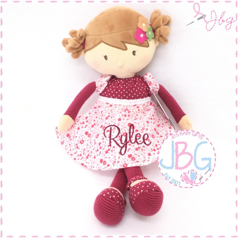 Embroiderd baby gift Birthday//Christening Keepsake doll Personalised Pink Floral Rag doll