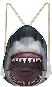 3D Shark Drawstring Backpack Custom Small School Bags for Boys Zoo Travel Bag