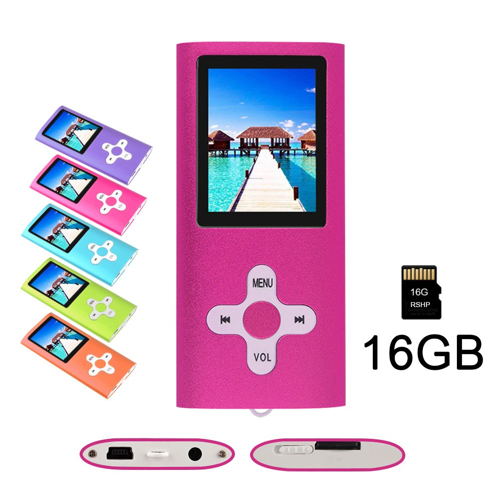 RHDTShop MP3 MP4 Player with a Internal 16GB Card, Ultra Slim 1.7 inch LCD Screen, Support UP to 32GB Card, Portable Digital Music Player, Video Player, Voice recorder, FM Radio, E-Book,pink