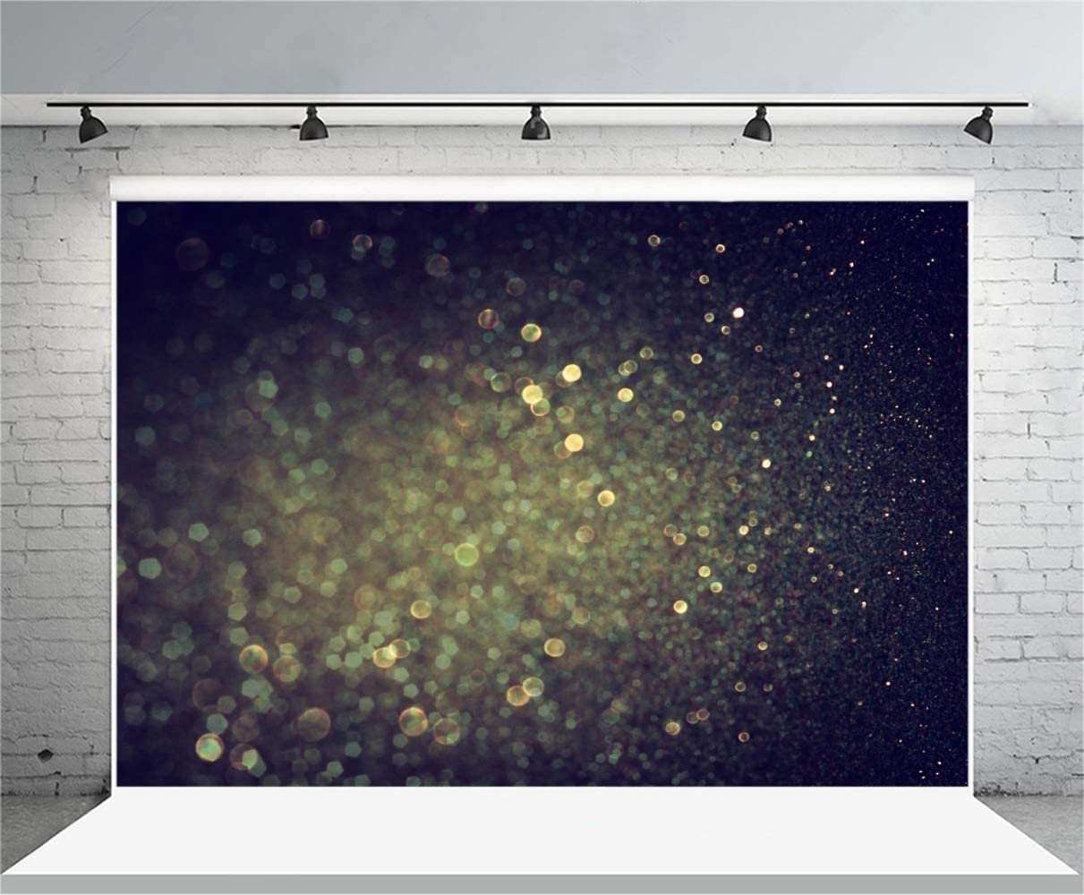 8x6.5ft Dark Night Backdrop Polyester Abstract Dreamlike Bokeh Glittering Haloes Photography Background Wedding Child Kids Baby Newborn Adult Portrait Shoot Studio Props Wallpaper