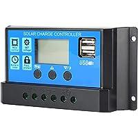 Lamker 30A 12V / 24V Controlador de Carga Solar PWM Panel Solar Regulador Inteligente de Batería con Pantalla LCD Doble…