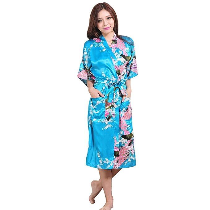 WYSMOL Ropa de Dormir Erótica de Pavo Real y Flor para Mujer Sexy Batas y Kimonos de Satén, Azul S: Amazon.es: Ropa y accesorios