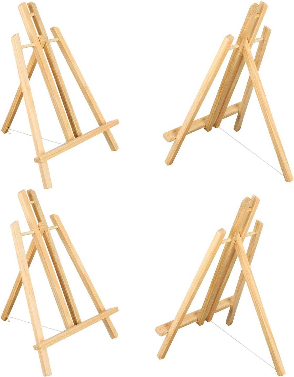 4Pcs Wooden Easel,Easel Stand,Foldable A Frame Wood Easel Adjustable Table Easel for Kids,Oil Water Painting, Table Top Arts and Crafts,Students Classroom Etc.