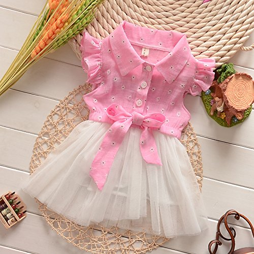 Baby Girls Kids Lovely Pink Princess Bow Tutus Cotton+Lace Party Dress