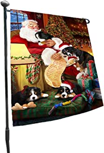 Doggie of the Day Happy Holidays with Santa Sleeping with Bernese Mountain Dogs Christmas Garden Flag