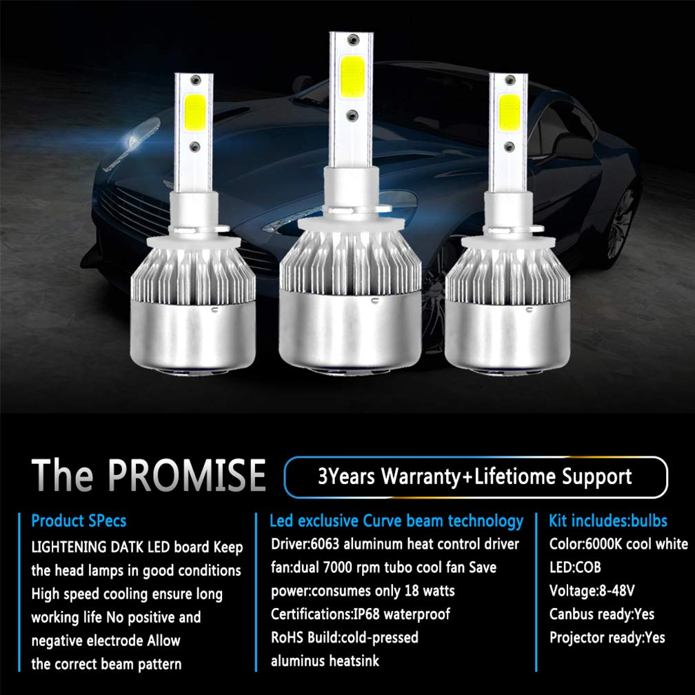 Amazon.com : BOHENG Automotive LED Headlights Headlight Conversion Kit Bulbs C6 Series Auto Car Led Headlamp Car COB Chip Headlight Bulb 6000K 36W Cool ...