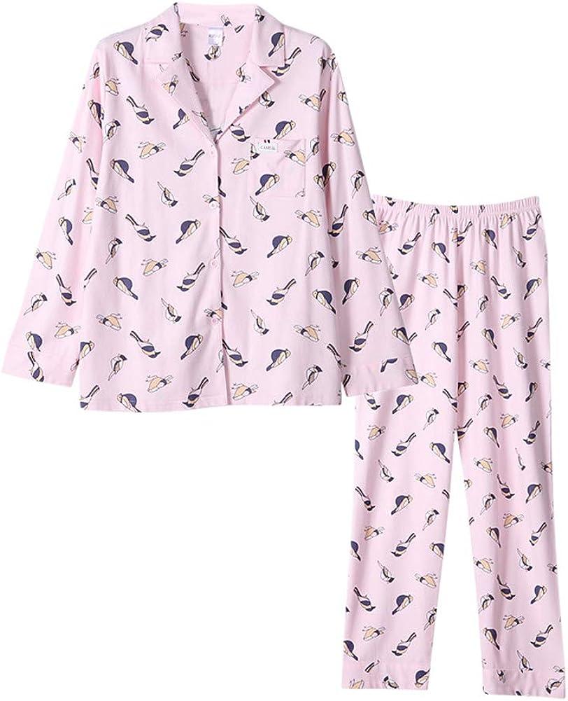 Tortor 1Bacha Womens Brid Print Sleepwear Long Sleeve Button Shirt Pants Pajama Set