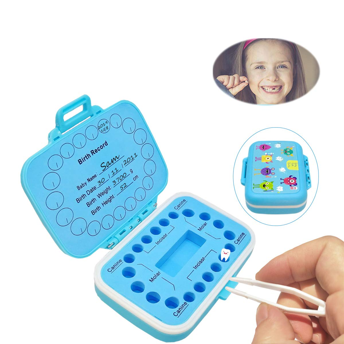 Blue+Blue Tooth Box,Tooth Fairy Box,Kids Keepsake Box,Organizer Gift for Baby Teeth,Kids Deciduous Teeth Collection, Save Children Teeth to Keep The Childhood Memory/…
