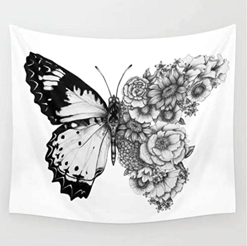 Butterfly In Full Bloom Tapestry Wall Hanging for Home Decor Bedspread, Bed Cover, Wall Art, Bedding, Throwing, Yoga Mat, Sports Event, B W Tapestry 90 x59 230x150cm