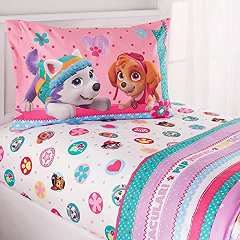 PAW Patrol Kids Pink 'Best Pup' Flower Dotted Heart Stripe Twin Bedding Sheet Set for Girls (3 Piece in a Bag)