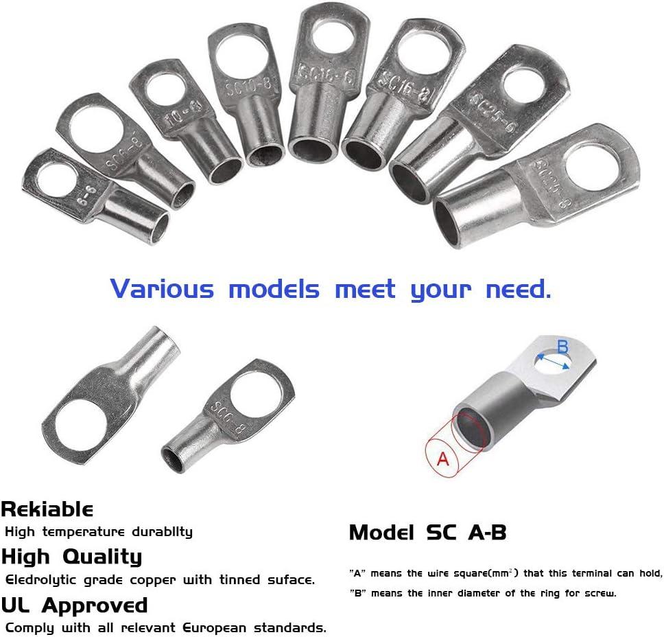 220 X Rohrkabelschuhe Kabelschuhe Kupferrohr Kabel Verzinnt SC4-4 SC6-6 SC10-6