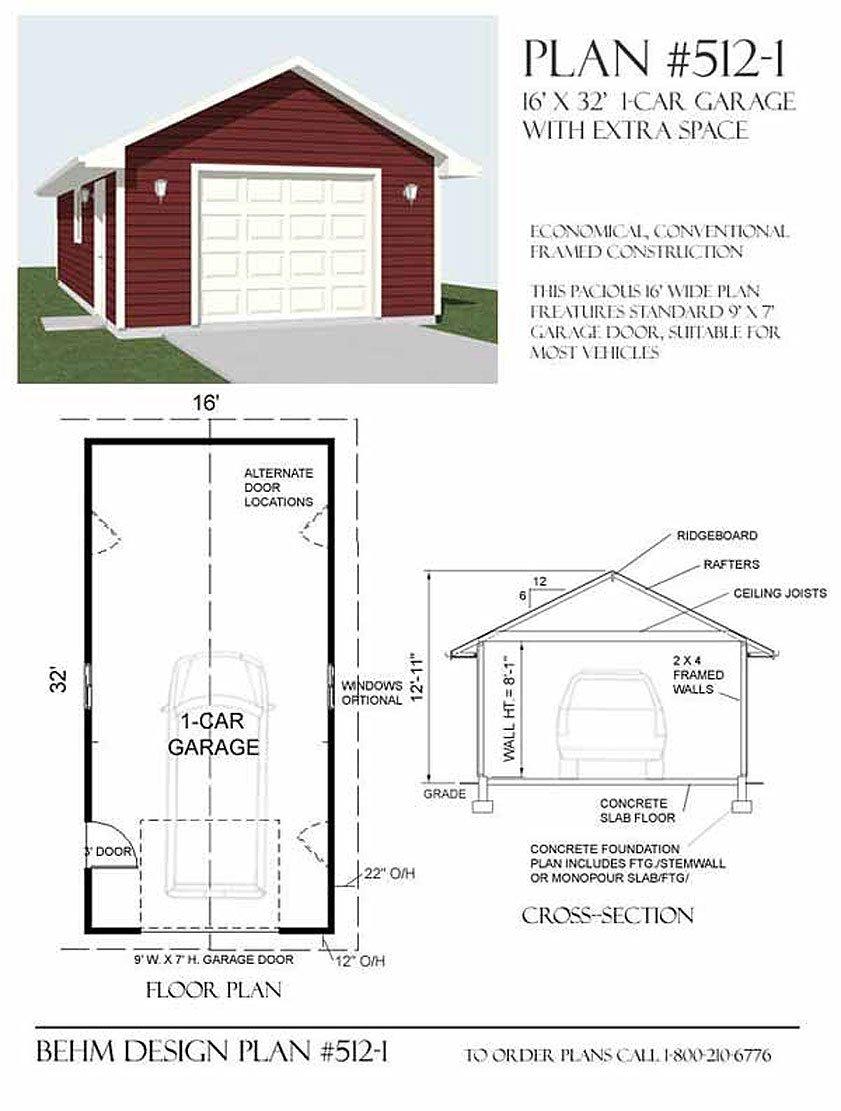 Amazon Garage Plans 1 Car Garage Plan 5121 16 x 32 one – 16 X 32 Garage Plans