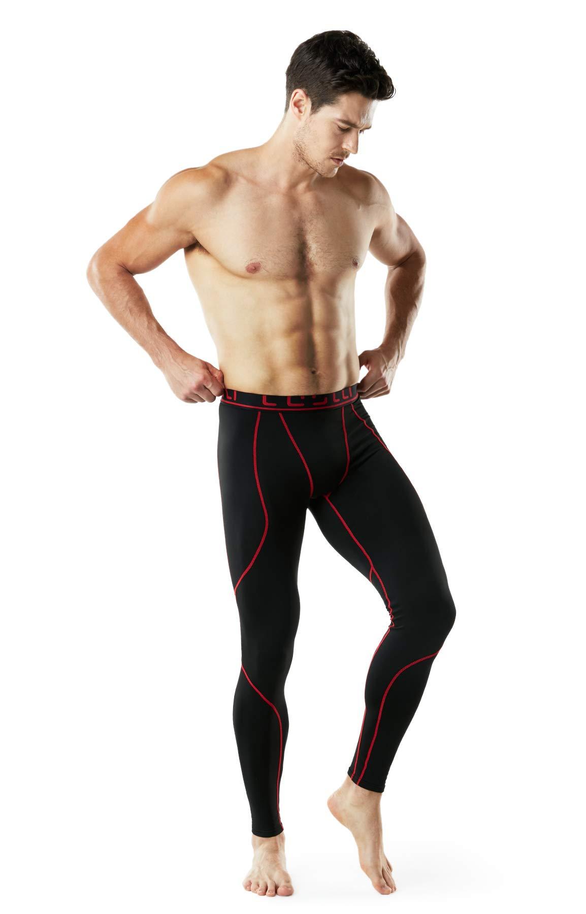 TSLA TM-YUP43-KKR_3X-Large Men's Emboss Pants Thermal Wintergear Compression Baselayer Sports Leggings YUP43 by TSLA (Image #7)